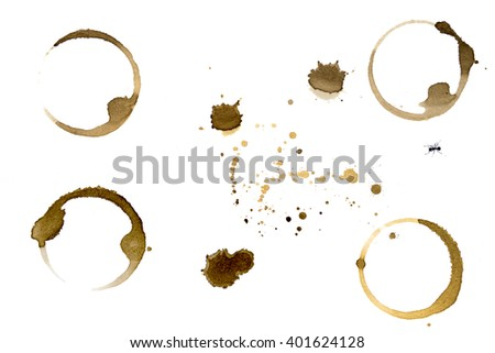 Coffee stain cup rings  on a white background with ant