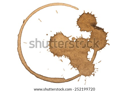 Coffee stain. Isolated on white. - stock photo
