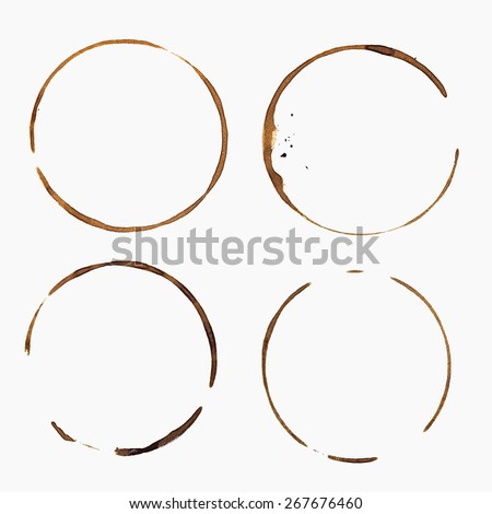 Coffee Stain, Isolated On White Background - stock photo
