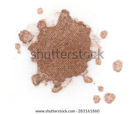 coffee stain on a white material - stock photo
