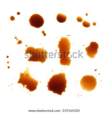 coffee stain on white background - stock photo