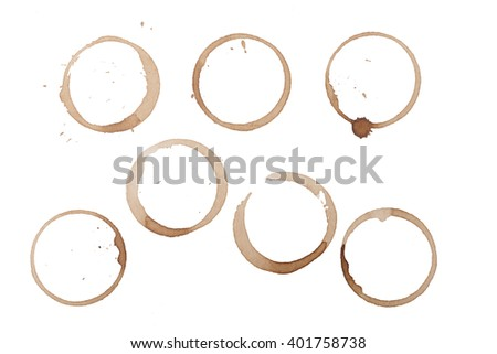 Coffee Stain Rings Set Isolated On White Background