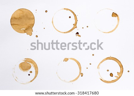 Coffee Stain Rings Set Isolated On White Background for Grunge Design.5 - stock photo