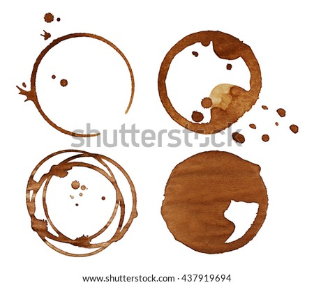 Coffee stains, isolated on white - stock photo