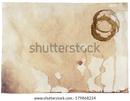 coffee stains on the paper - stock photo