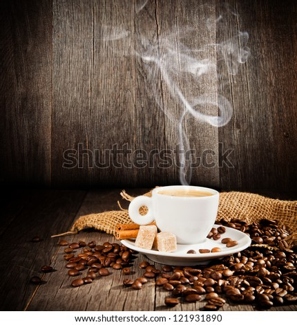 Coffee still life with free space for text - stock photo