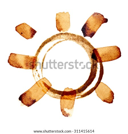 Coffee sun isolated on the white background painted in real coffee - stock photo