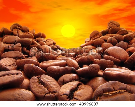 Coffee sunset - stock photo