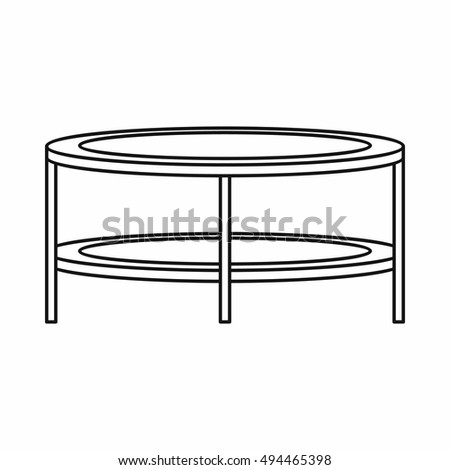 coffee table clipart black and white. coffee table icon in outline style on a white background illustration clipart black and q