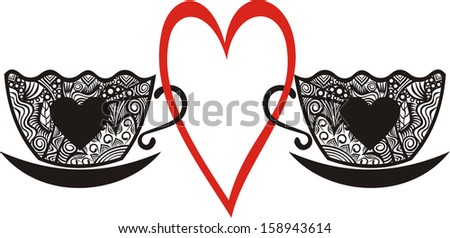 Coffee tea cup love heart for valentines day card illustration - stock photo
