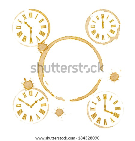 Coffee Tea Time Ring Stains and Clocks - stock photo