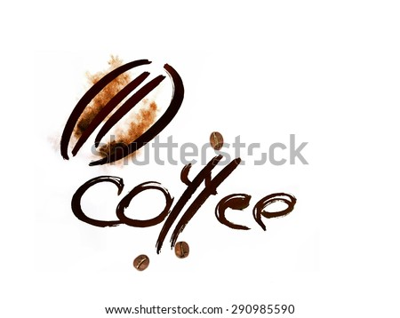 coffee text abstract symbol, watercolor on paper - stock photo