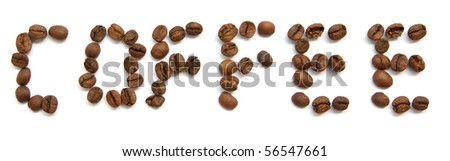 coffee text made of single coffee beans
