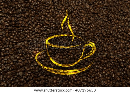 coffee texture with cup sign
