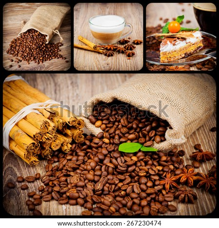 Coffee theme collage - stock photo