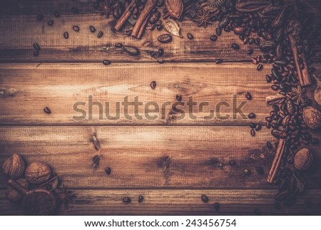 Coffee theme still-life with copy-space on wooden table  - stock photo