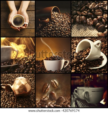 Coffee, themed collage - stock photo