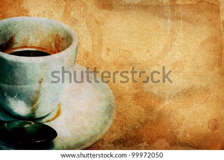 Coffee-themed grunge background - stock photo