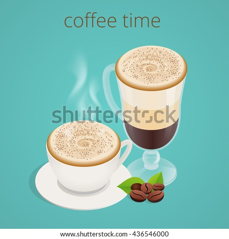 Coffee time or coffee break. Group People Chatting Interaction Socializing Concept. Flat 3d  isometric illustration - stock photo