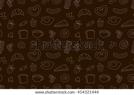 Coffee time, seamless background for your design.Raster version - stock photo
