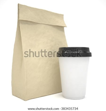 Coffee to go and lunch bag, on white. - stock photo