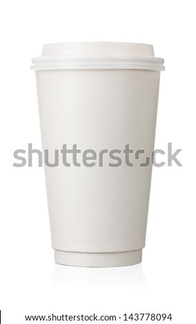 Coffee to go, close up of blank paper cup isolated on white background - stock photo