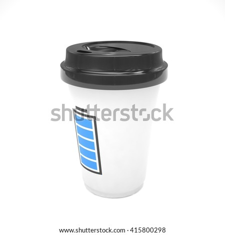 Coffee to go on white. 3d rendering. - stock photo