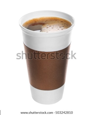 Coffee-to-go. Opened paper cup of coffee isolated on white