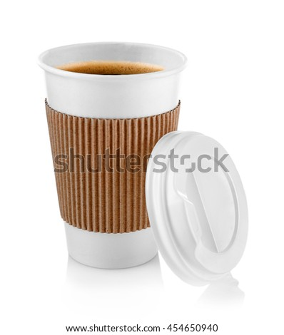 Coffee-to-go. Paper cup of coffee isolated on white - stock photo