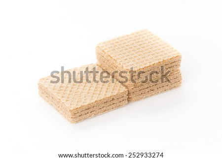 coffee wafer on white background - stock photo