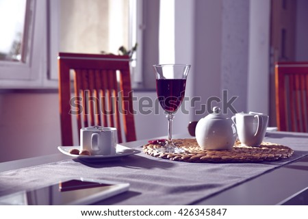 coffee wine and chair and wooden space