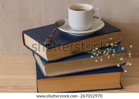 Coffee with a book - stock photo