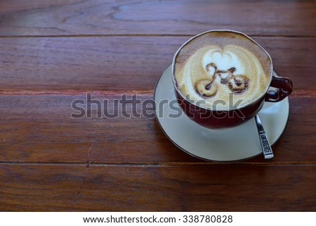 Coffee with bicycle shape - stock photo