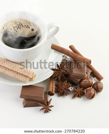 coffee with chocolate and dry breakfast - stock photo