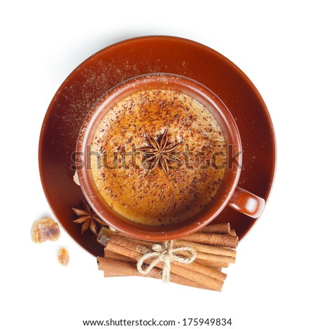 Coffee with cinnamon on a white background. Top view - stock photo