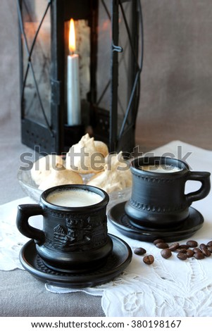 Coffee with cream and meringue.
