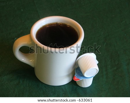 coffee with creamers - stock photo