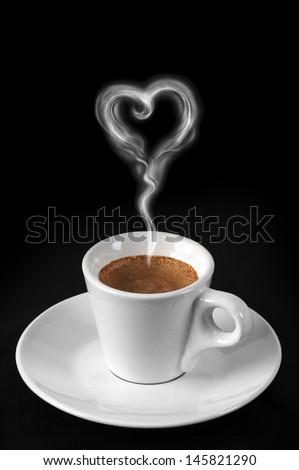 coffee with heart smoke - stock photo