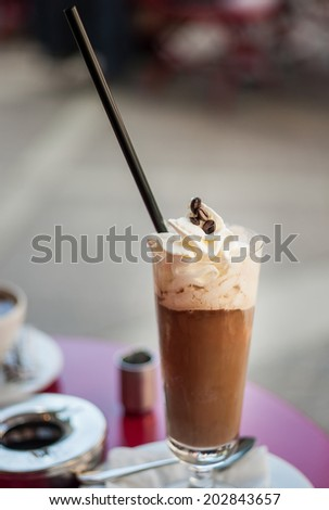 Coffee with ice-cream and cream