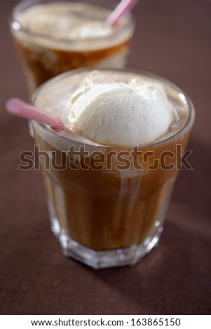 Coffee with ice cream in glasses
