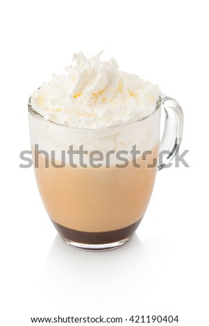 coffee with milk and chocolate . coffee with whipped cream - stock photo