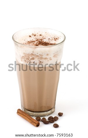 coffee with milk and cinnamon stick and beans - stock photo