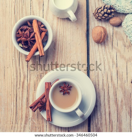 coffee with milk on a wooden table. top view - stock photo