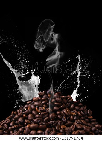 Coffee with smoke on black background