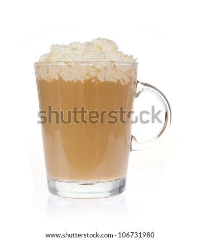 Coffee with whipped cream isolated on white
