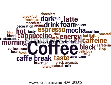 Coffee, word cloud concept on white background.