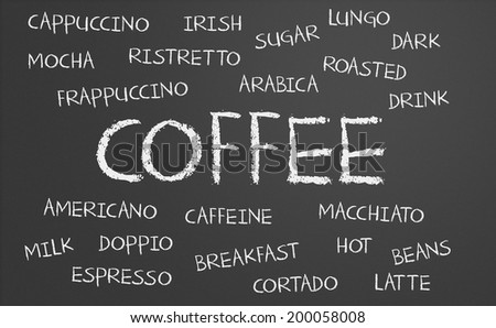 Coffee word cloud written on a chalkboard - stock photo