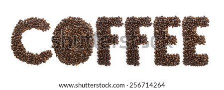 COFFEE word made of coffee beans, isolated on white background