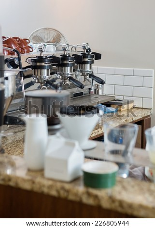 Coffeemaker on counter in coffeeshop - stock photo
