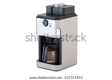 Coffeemaker or coffee machine, 3D rendering isolated on white background